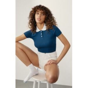 Pacsun Ribbed Cropped Navy Polo Top